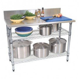 WORK TABLE STAINLESS STEEL (2 TIER / SPLASH BACK)  1300 x 690 x 870mm