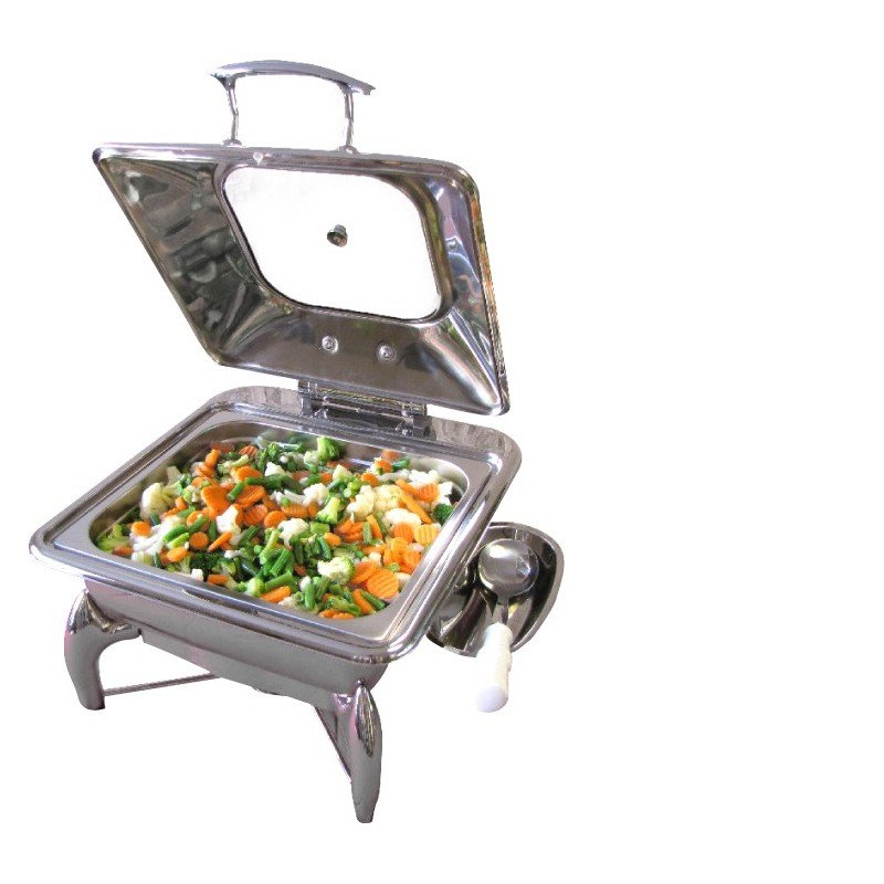CHAFING DISH INDUCTION - SQUARE - GLASS LID 5.5Lt