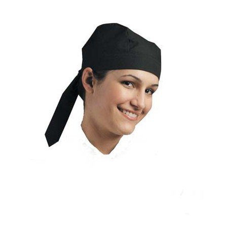 CHEFS UNIFORM - SCULL CAP (TIE AT BACK) BLACK - 1