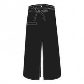 CHEFS UNIFORM - BISTRO APRON WITH SLIT - BLACK - 1