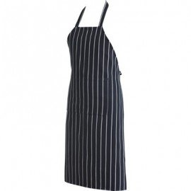 CHEFS UNIFORM - FULL BIB APRON BUTCHERS BLUE STRIPE - 1