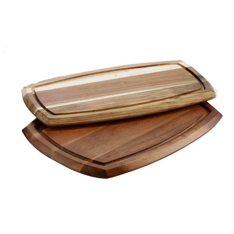 WOODEN SERVING BOARD WITH DIP BOWL (70ml BOWL) 225 x 362 x 20mm - 1