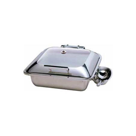 CHAFER INDUCTION SQUARE SMART WITH GLASS LID - 18/10 S/STEEL SPOON HOLDER OPTIONAL - 1