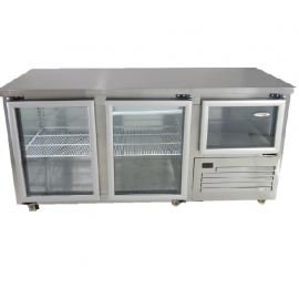 UNDERBAR FRIDGE - SOLID GLASS TWO AND A HALF SWING DOOR - 610L - 1
