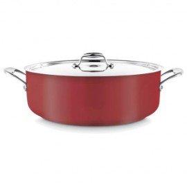 Low Casserole Pot (Red) 8.9L W/Lid - 1