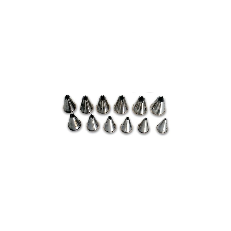 NOZZLE SET STAINLESS STEEL STAR  12 PIECE